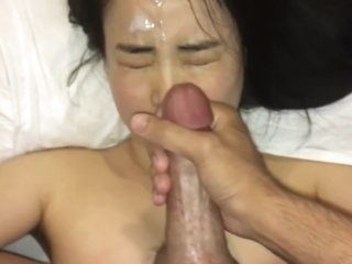 cute asian girl loves cum on her face so much