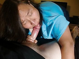 Asian wife swallow some nipple views