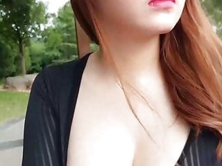Cool Big Tits Chinese Girl Dildo Cucumber Park Public Webcam