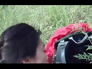 Chinese girlfriend fucked outside