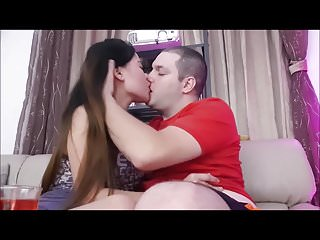 romantic asian kissing and fast creampie