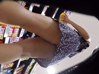 Chinese Girl in Black Thong Upskirt