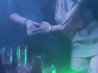 Chinese club handjob in public