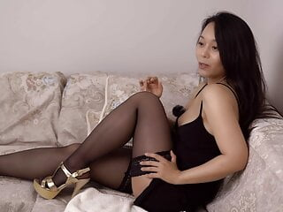 Dumb chubby Chinese cunt - masturbating on couch