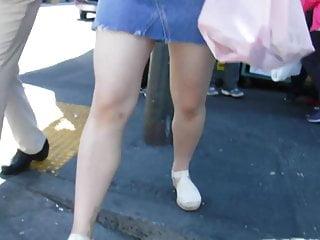 BootyCruise: Asian Babes Leg Art 30: Blue Denim Skirt